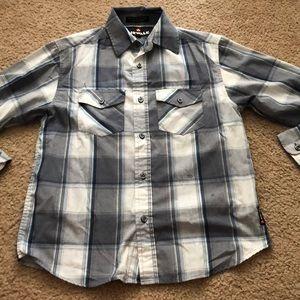 Boys gray plaid airwalk l/s button up shirt 10-12